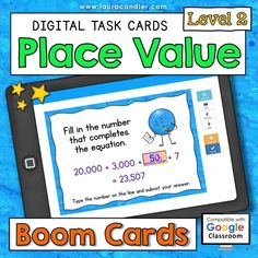 Place Value interactive, self-checking Boom Cards are a fun way for kids to practice place value concepts using numbers with up to 7 digits. They're perfect for distance learning! Includes two versions: Common Core and traditional place value terminology. #placevalue #BoomCards #DigitalTaskCards #DistanceLearning #mathboomcards #mathfun Teacher Hacks, Best Teacher, Engage In Learning, Place Values, Elementary Education, Google Classroom, Fun Math, Fractions, Task Cards