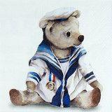 Piękny marynarz niedźwiedź na papierowej serwetce wzór