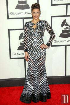 Paula Patton in Nicolas Jebran Couture at the 2014 Grammy Awards - lions :)