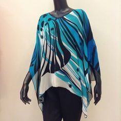 """Hand Painted Silk Top """"Wind"""""""