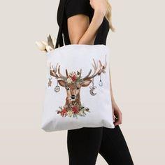 Rustic Christmas Reindeer Antler Ornaments Tote Bag Custom Tote Bags, Personalized Tote Bags, Holiday Cards, Christmas Cards, Reindeer Antlers, Edge Design, Christmas Card Holders, Rustic Christmas, Reusable Tote Bags