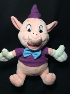 "Disney Three Little Pigs Fifer Plush Purple Shirt 10"" Soft Toy Stuffed Bowtie #Disney"