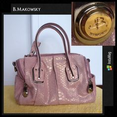 B. Makowsky Snake Embossed Satchel Stunning holographic pink suede lizard scale embossed leather satchel by B. Makowsky. In EUC! Silver and gold tone hardware embossed with b Makowsky logo. Zippered top with large suede pull, zippered compartments on each end with slip pockets (lined in purple satin), double handles, option for cross-body (strap is missing), inside lined in purple satin with zippered back wall compartment and two slip pockets. Perfect for all your storage with style needs…