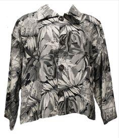 AKH Fashion Lagenlook kastige Leinen Jacke mit großen Blumen in grau XXL Mode bei www.modeolymp.lafeo.de
