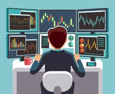 Stock Vector: Stock market trader looking at multiple computer screens with financial and market charts. Broker and trader financial on work place illustration -