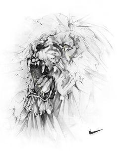 Alexis marcou - nike lion art graphite drawings, drawings et Art And Illustration, Illustrations Posters, Animal Drawings, Art Drawings, Tattoo Drawings, Lion Art, Tatoo Art, Graphite Drawings, Lions