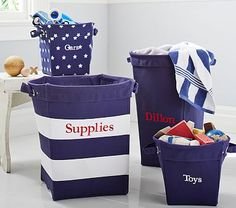 pottery barn baby canvas storage navy and white stripes Large Toy Storage, Kids Storage Bins, Storage Buckets, Baby Canvas, Kids Outdoor Play, Outdoor Store, Nautical Nursery, Pottery Barn Kids, Boy Room