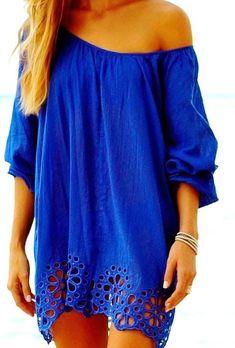 One off shoulder blue loose blouse