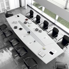 Boardroom table for the Leader series. Available in 320 or 480 cm and in various finishes. Law Office Design, Office Table Design, Modern Office Design, Office Furniture Design, Office Interior Design, Office Interiors, Conference Table Design, Conference Room, Office Plan