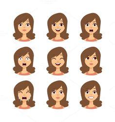 Woman emoji face vector icons. Human Icons. $5.00