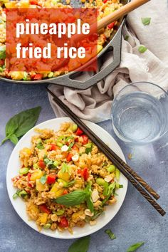 Juicy pineapple chunks are stir-fried with crispy rice, edamame and fresh basil in this peanut-topped pineapple fried rice that's better than takeout! Vegetarian Recipes Dinner, Entree Recipes, Vegan Dinners, Side Dish Recipes, Asian Recipes, Vegan Vegetarian, Veg Recipes, Easy Recipes, Side Dishes