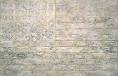"""Jasper Johns (American, born 1930), """"White Flag,"""" 1955. Encaustic, oil, newsprint, and charcoal on canvas, 78 5/16 x 120 3/4 in. (198.9 x 306.7 cm). The Museum of Modern Art, New York."""