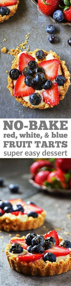 Red, White, and Blue Fruit Tart recipe | by Life Tastes Good makes it easy to beautify your dessert table. This easy recipe is no-bake and only takes minutes to put together. You'll fall in love with the flavor combo of fresh fruit, cheesecake filling, and graham cracker crust, and the festive colors make it perfect for holidays like the 4th of July and Memorial Day. #LTGrecipes #SundaySupper