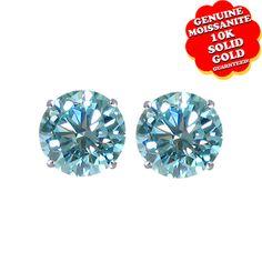 "1/2 Ct Blue Genuine Moissanite 10K Gold Stud Earrings ""Mother\'s Day Gift"". Starting at $31"