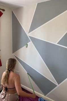 Pin image Tape Painting, Diy Painting, Good Parenting, Parenting Hacks, Wall Art Designs, Wall Design, Frog Tape Wall, Geometric Wall Paint, Geometric Shapes