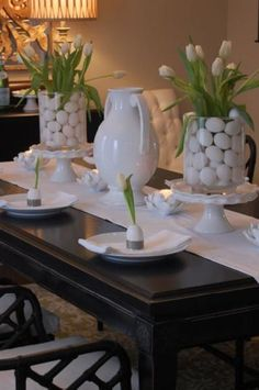 All white Easter tablescape. I just may do this next year. There is something about all white that is so crisp and spring-like:)