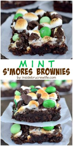Mint S'mores Brownies - three times the mint cookies and candies and marshmallows turn these brownies into a mint lovers dream dessert Mint Recipes, Best Dessert Recipes, Easy Desserts, Delicious Desserts, Yummy Food, Bar Recipes, Brownie Recipes, Cookie Recipes, Yummy Treats