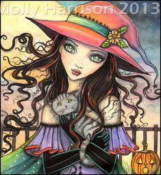 Winds of Halloween  Original Watercolor by MollyHarrisonArt, $185.00
