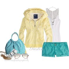 yellow and blue, created by stacy-gustin on Polyvore