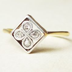 Art Deco Framed Diamond Flower Ring 18ct Gold by luxedeluxe