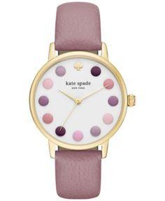 kate spade new york Women's Metro Pink Leather Strap Watch 34mm KSW1174 | macys.com