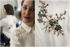 0a0fa584cf Embroidered back white shirt - blouse - floral Qvc Uk, Floral Blouse,  Ruffle Blouse