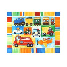 Art for kids & baby rooms! Vroom 24 - Doggies Go Vroom! Dogs & Transportation Painting for Boys Room  24x18 Acrylic Canvas Painting by nJoyArt  #art #decor #painting #kids #boys #transportation #trucks #dogs #nursery