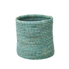 Small Round Paper Basket in Raffia - Mint