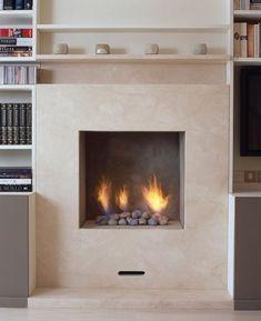 Hole in the wall style fireplace featuring Platonics bespoke Fire Pebbles. Modern Fireplace, Fireplace Wall, Fireplace Ideas, Fireplace Design, Wall Mounted Electric Fires, Electric Fireplace, Dream Home Design, House Design, Fireplace Showroom