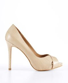 Cheri Exotic Leather Platform Peeptoe Pumps.  These might work for Lori's wedding??