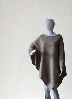 Wool poncho, beige sweater, wool cape, beige poncho, beige coat, women's coat, women's poncho, women's cape,pullover sweater,women's fashion