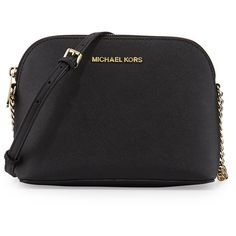 MICHAEL Michael Kors Cindy Large Dome Crossbody Bag ($168) ❤ liked on Polyvore featuring bags, handbags, shoulder bags, black, monogrammed crossbody purse, chain shoulder bag, michael michael kors crossbody, michael michael kors handbags and black cross body purse