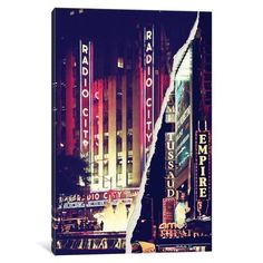 iCanvas Dual Torn Series - Times Square Theater District Gallery Wrapped Canvas Art Print by Philippe Hugonnard