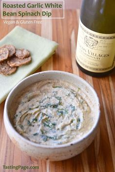 Roasted Garlic White Bean Spinach Dip - all of your favorite dips in one - with no added dairy, and naturally gluten free | http://TastingPage.com
