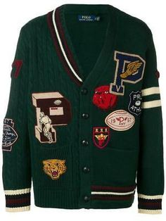 Ralph Lauren Store, Polo Ralph Lauren, Varsity Sweater, Preppy Mens Fashion, Mexican Outfit, Patches, Mode Style, Preppy Style, Sweater Jacket