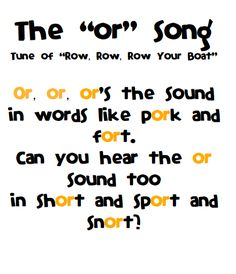 Or, Ore & Oar song!     Swimming Into Second: Songs in the Classroom