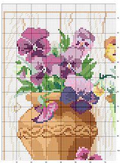 Schema punto croce Vasi-fiori-1