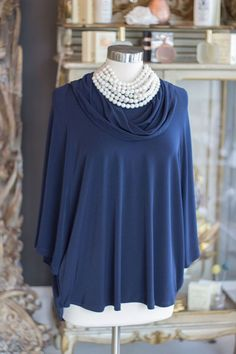 Navy PLANET cowl neck pullover