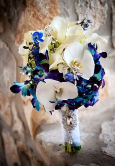 Bridal Bouquet from my January wedding, January wedding White and Blue Orchids and Calla with crystal accents, 2014 Valentines Day  wedding flowers