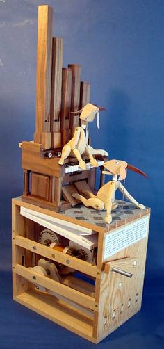 """The Goat Organ"" is designed and made by Matt Smith. It's an elaborate automata that involves five organ pipes, two sets of bellows and nine valves."