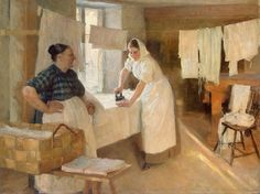 'The Laundress' working hard ironing. The painting by Albert Edelfelt Finnish) Swedish speaking parents Vincent Van Gogh, Laundry Art, Laundry Lines, Mary Cassatt, Chur, Working Woman, Working Hard, Monet, Les Oeuvres