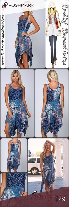 """Paisley Floral Patchwork Fit & Flare Midi Dress NWT Paisley Floral Patchwork Print Fit & Flare Boho Dress  Available in S, M, L Measurements taken from a size small  Length: 32""""/40"""" (at shortest/at longest) Bust: 34"""" Waist: 27"""" Hips: 39""""  Features  • open neckline  • waterfall hemline • fit & flare design • side zip closure • sleeveless   100% Rayon   Bundle discounts available  No pp or trades ~ item # 1/1-7-2--0490BPWD Pretty Persuasions Dresses Midi"""