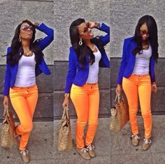 Cobalt blue blazer plain white tee and tangerine ️Orange skinnies who'd of thought? Great colours