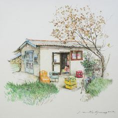 (Korea) A disappearing small store in a rural, 2012 by Lee Me Kyeoung ). ink on paper with a pen use the acrylic. Korean Art, Asian Art, Art Sketches, Art Drawings, Urban Sketching, Anime Scenery, Anime Comics, House Painting, Watercolor Paintings