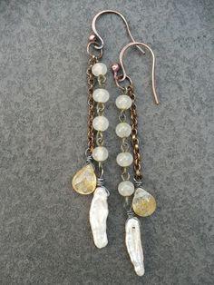 HALO- handmade rosary, pearl and citrine earrings. $40.00, via Etsy.
