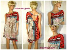 $130 New SAVE THE QUEEN Summer Cocktail Top Tunic #Italy T36-38 / S (small)  #SavetheQueen #Tunic #Clubwear #NoveltyCouture #MadeInItaly