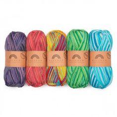 Rainbow Cotton Organic Print Color Bag from Hobbii Crochet Baby Socks, Knit Or Crochet, Kindergarten Drawing, Arm Knitting Yarn, Yarn For Sale, Crochet Supplies, Crochet Stitches Patterns, Crochet Handbags, Yarn Shop