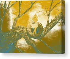 Canvas Print, girl,woman,lady,figure,female,feminine,tree,nest,nature,trunk,branches,calm,scene,morning,glorious,sky,daylight,dawn,sunrise,birds,doves,pigeons,high,height,habitat,forest,moody,glorious,fantasy,magical,mystical,mystery,dreamy,surrealism,modern,contemporary,style,golden,blue,white,shades,in,on,at,up,of,with,the,a,fine,art,digital,mixed,media,painting,paintings,artworks,products,items,for sale,online,fine art america