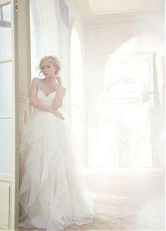 Gorgeous Tulle & Satin Ball gown V-neck Raised Waistline Beaded Wedding Dress...So beautiful!