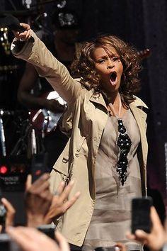 Whitney Houston performs on Good Morning America in Central Park, New York, on September 1, 2009.